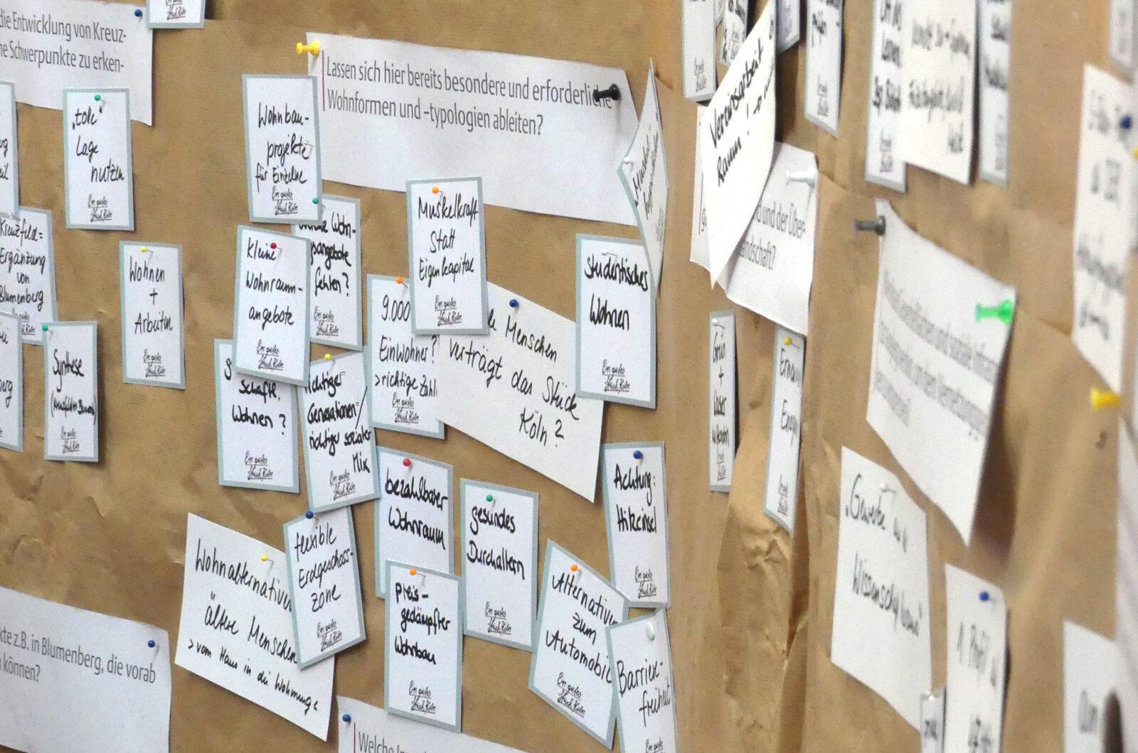 Eine mit Moderationskarten bestückte Stellwand, auf der die Ergebnisse des Expert*innenhearings dokumentiert sind.